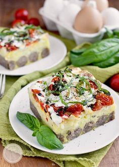 Caprese Sausage Breakfast Bake is an incredibly easy and satisfying gluten-free brunch recipe. Fresh, cheesy, and delicious!  #glutenfree   iowagirleats.com