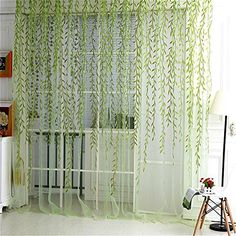 "Norbi Willow Voile Tulle Room Window Curtain Sheer Voile Panel Drapes Curtain 39.4'' x 78.8"" L (Green B)"