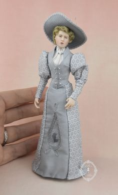 "This is Mother MacFizzet, inspired by Edward Gorey's poem ""The Dwindling Party"". Original sculpt cast in porcelain, china painted and in 1:12 scale. Victorian Dolls, Dollhouse Dolls, Doll Clothes, Porcelain, Disney Princess, Gallery, Inspiration, Dresses, Poem"