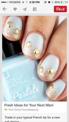 white gold sea shells