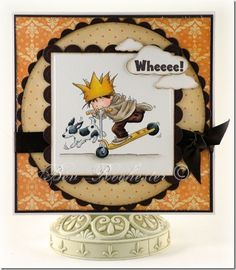 A wonderful boys card by Bev Rochester. A very cute LOTV image and fun card design.