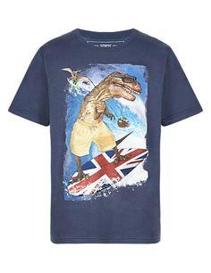 Pure Cotton Dinosaur Surfing T-Shirt Clothing