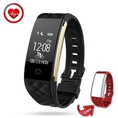 Fitness Tracker Semaco Heart Rate Monitor Wireless Smart Bracelet Waterproof Activity Tracker Pedometer Wristband Sleep Monitor Fitness Watch with Replacement Band for Cycling (Black  red Band) -- Check this awesome product by going to the link at the image. (This is an affiliate link) #Accessories