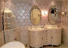 What an elegant silver bathroom featuring Wallovers Ethnic Grid stencil with the mod insert.
