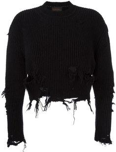 Yeezy Season 3 destroyed crop boucle sweatshirt