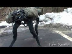 BigDog is the alpha male of the Boston Dynamics robots. It is a rough-terrain robot that walks, runs, climbs and carries heavy loads. BigDog is powered by an engine that drives a hydraulic actuation system. BigDog has four legs that are articulated like an animal's, with compliant elements to absorb shock and recycle energy from one step to the next.