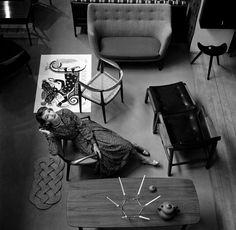 Scandinavia (Wenda Parkinson and Furniture), British Vogue, July 1955.  NORMAN PARKINSON
