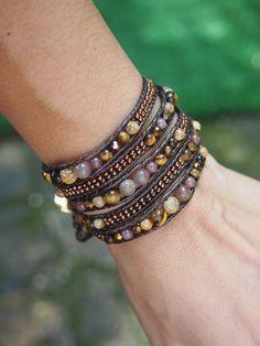Jasper mix Wrap bracelet on brown cord, Boho Wrap Bracelet, Beadwork bracelet Diy Bracelets Easy, Beaded Bracelets, Wrap Bracelets, Watch Necklace, Necklace Set, Moon Jewelry, Animal Jewelry, Mode Style, Custom Jewelry
