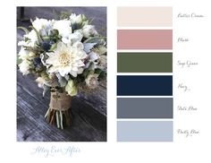 Alley Ever After – color theme: slate blue, navy blue, sage green, blush, butter cream. Suits light gray & dark Source by PinkWeddingintheStars Source by PinkWeddingintheStars … Blue And Blush Wedding, Pink Wedding Colors, Sage Green Wedding, Blush Color Palette, Green Color Schemes, Navy And Green, Navy Blue, Color Themes, Wedding Ideas