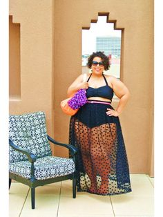 Rocking the plus-size two-piece!