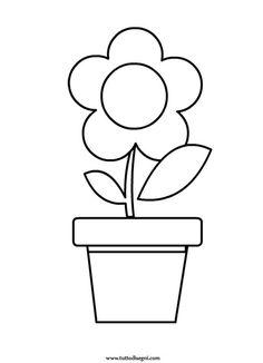 Fiore con vaso da colorare - TuttoDisegni.com