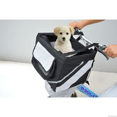 Pet Bike Carrier Bicycle Basket Tote Car Travel Basket Portable Dog Cat Folds #Pawhut