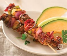 BBQ Bacon Chicken Kabobs recipe | Tastefully Simple Grilled Vegetable Recipes, Chicken Kabob Recipes, Chicken Kabobs, Chicken Bacon, Grilled Vegetables, Grilling Recipes, Barbecued Chicken, Tastefully Simple Recipes, Smoky Bacon