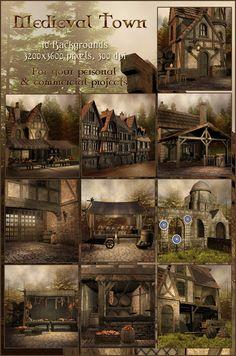 medieval town fantasy deviantart tavern unholyvault dnd village concept farm scenes dark places market times england inn