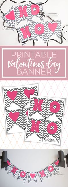 Free Printable XOXO Pink and Grey Valentine's Day Banner for Decorating the Fireplace Mantel or the Classroom | LovePaperCrafts.com