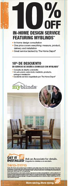 10 Off In Home Design Service Featuring Myblinds Offer Is Good Through 7 17 13 At The Depot Windowtreatments Homedepot