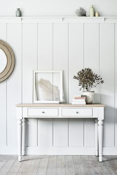 Suffolk console table painted in Silver Birch White Console Table, Hallway Console Table, Cottage Hallway, Cottage Living, Painted Furniture, Furniture Sets, Bookcase Lighting, Living Room Panelling, Wooden Panelling