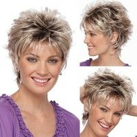 Women's Fashion Wig Short Haircut Curly Black Ombre Grey Wigs Short Hair Wig(Size:One Size) - Short Hair Styles Short Blonde Haircuts, Haircuts For Curly Hair, Wig Hairstyles, Curly Hair Styles, Haircut Short, Best Short Haircuts, Medium Hairstyles, Grey Hair Haircut, Over 60 Hairstyles