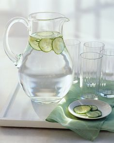 Instead of buying pricy flavored bottled drinks at the supermarket, add a hint of flavor to tap or filtered water by infusing it with slices of lemon, lime, orange, or cucumber and mint. Set a pitcher of your flavored water on your desk: You'll drink more if the pitcher is there as a reminder, and you won't have to buy multiple bottles of water, either!