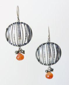 Filigree Earrings with Carnelian and Rubies: Ashley Vick: Silver & Stone Earrings - Artful Home