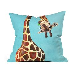 DENY Designs Coco De Paris Giraffe With Green Leaf Throw Pillow ($22) ❤  Liked On Polyvore Featuring Home, Home Decor, Throw Pillows, Deny Designs,  ... Part 57