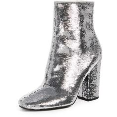 KENDALL + KYLIE Haedyn Block Heel Ankle Boots ($195) ❤ liked on Polyvore featuring shoes, boots, ankle booties, silver, sequin ankle boots, glitter booties, block heel bootie, glitter sequin boots and faux-fur boots