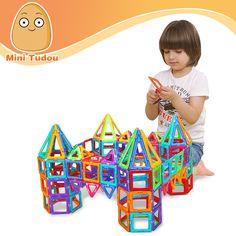 Minitudou Kids Toys 32PCS Enlighten Bricks Educational Magnetic Designer Toy Square Triangle Hexagonal 3D DIY Building Blocks