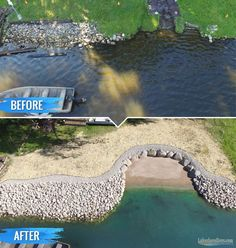 Losing your shoreline to erosion? We build the toughest riprap shorelines on earth. See photos of our work. Lake Dock, Lake Beach, Lake Landscaping, Landscaping Ideas, Modern Landscaping, Farm Pond, Lakeside Living, Natural Pond, House Landscape