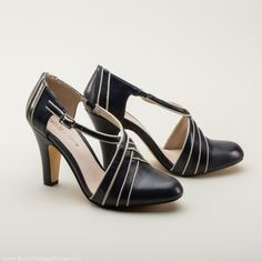 Lana 1930s Art Deco Shoes by Chelsea Crew (Navy)