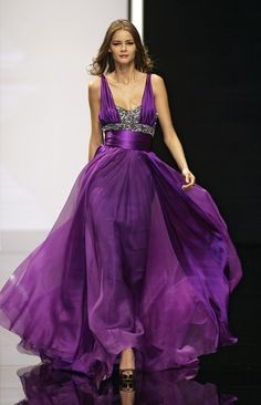 Amethyst aubergine gown ~ Elie Saab ~ I don't like the top ~ maybe a halter?