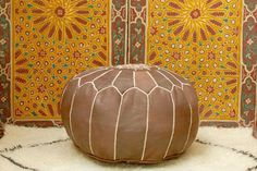 Dark Tan Moroccan Handmade Leather Pouf by BerberPoufs on Etsy