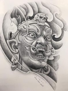 Japan Tattoo Design, Buddha Tattoo Design, Shiva Tattoo Design, Family Tattoo Designs, Family Tattoos, Tattoo Drawings, Trippy Drawings, Yogi Tattoo, Skull Girl Tattoo