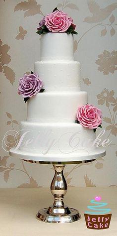 Dusky Blooms 4 Tier Wedding Cake by www.jellycake.co.uk, via Flickr 4 Tier Wedding Cake, Small Wedding Cakes, Elegant Wedding Cakes, Wedding Cake Designs, Wedding Ideas, Pretty Cakes, Cute Cakes, Beautiful Cakes, Amazing Cakes