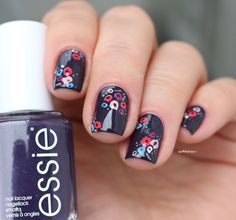 essie fall 2016 collection Go Go geisha kimono over eggplant purple flower nail…