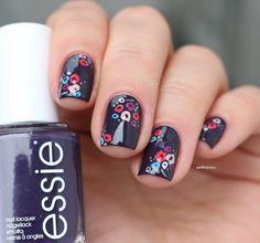 essie fall 2016 collection Go Go geisha kimono over eggplant purple flower nail…