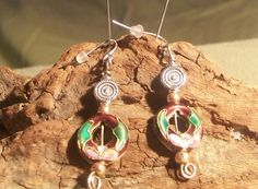 Brown cloisonne and silver bead earrings by MarquisCreations, $11.25 #spsteam