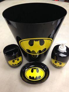 Batman Bathroom Soap Holder Toothbrush Holder Trashcan by VSLSigns Batman Bathroom, Superhero Bathroom, Baby Bathroom, Bathroom Stuff, Batman Room, I Am Batman, Batman Stuff, Superman, Bathroom Soap Holder