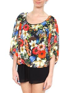 Floral Print Bubble Hem Batwing Chiffon Top in Black #chiarafashion