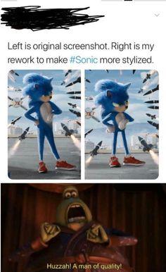 Left is original screenshot Right is my rework to make more stylized. Huzzah' A man ol qualvly! Haha Funny, Hilarious, Funny Stuff, Dankest Memes, Funny Memes, Otaku, Quality Memes, Gaming Memes, Anime