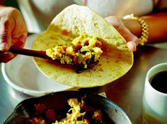 This breakfast (or lunch, or dinner, or midnight snack) taco from Sara Deseran and Joe Hargrave's new book, Tacolicious, is a spot-on version of the Texan tradition, with strips of roasted poblano peppers, good-sized bites of bacon, and tiny cubes of potatoes cooked with onion in that bacon fat, all scrambled with eggs and just the right amount of cheese.