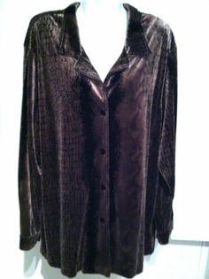 New SAG HARBOR Plus Size Velour Long Tunic Shirt/ Jacket Sz 2X | eBay