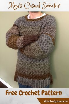 The Men's Casual Sweater is a perfect first sweater project for any crocheter. I have included dozens of photos to help beginners and experienced crocheters alike.The bulky yarn works up quickly, and you could complete yours in as little as 8 hours (or even less if you are a fast crocheter).The design is easily adjustable to any size or height, so you should get a perfect fit on any body type.