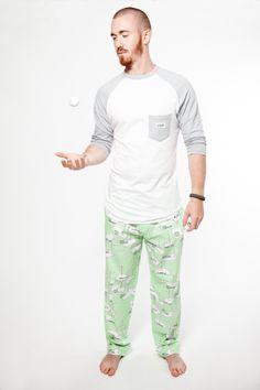 Let's Play a Round organic cotton mens pyjama pants with Hey Dude Raglan www.thegoodnightsociety.com.au