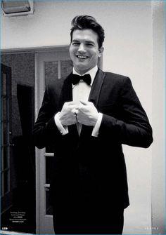 Ashton Kutcher is all smiles in a formal BOSS Hugo Boss tuxedo for GQ Style…