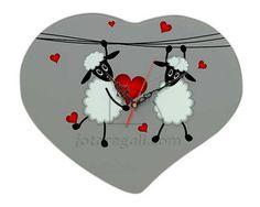 Orologio a forma di cuore con pecorelle