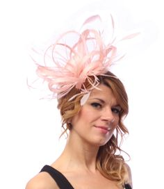 Pale Oyster Pink Feather Sinamay Fascinator Hat Pale Pink Fascinator ebe5dd0fa340