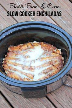 Slow Cooker Black Bean & Corn Enchiladas {Vegetarian}   $5 Dinners   Bloglovin'