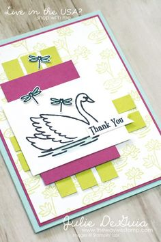Swan Lake by Stampin' Up! for the Creating Pretty Cards Challenge at Craft Project Central | Global Design Project 093 | Julie DeGuia | The Way We Stamp | handmade cards | rubber stamping | Thank You cards