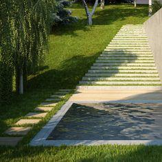 House & garden on a steep terrain on Behance Environmental Art, Sidewalk, Home And Garden, Landscape, Modern, Garage, Behance, House, Camping