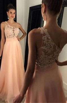 One Shoulder Sleeveless Sweep Train Peach A-line Prom Dress with Beading Lace